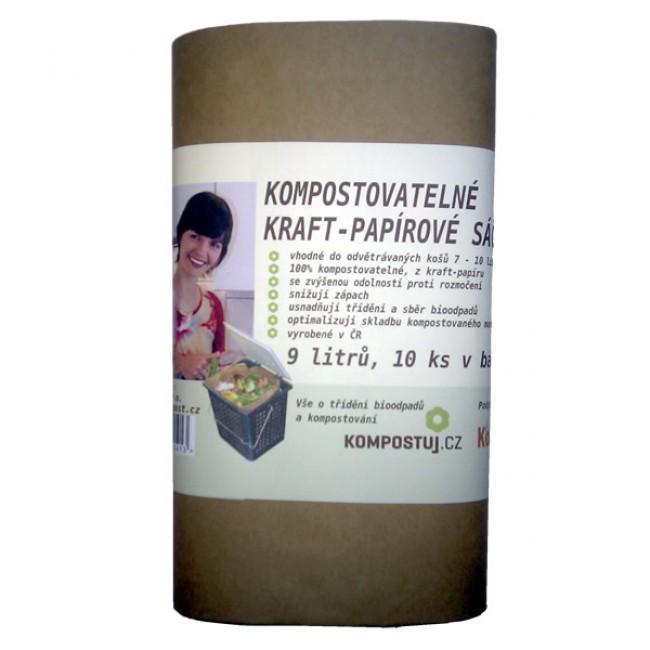 Kraft-papírové kompostovatelné sáčky (9 litrů)
