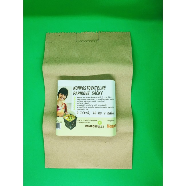 Kompostovatelné sáčky z recyklovaného papíru (9 llitrů)