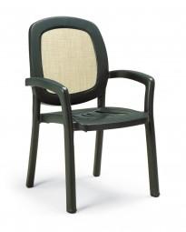 Zahradní židle Beta zelená s béžovou textilií